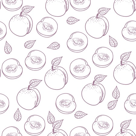peachy: Hand drawn outline peach with slice seamless pattern in purple and white