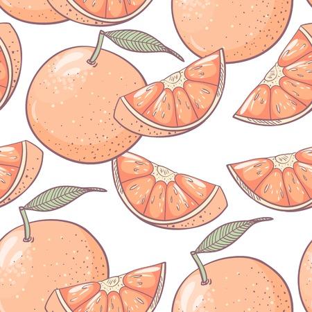 Grapefruit seamless pattern. Textile vector background Vector
