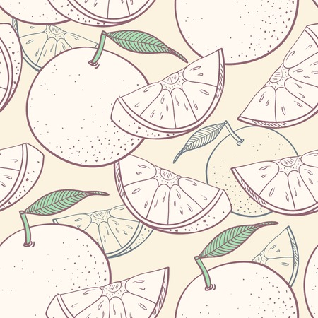 Grapefruit stylized seamless pattern. Outline vector illustration Ilustração