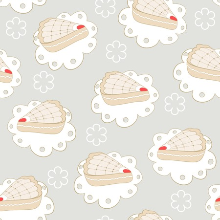 portion: Hand drawn portion of cakes seamless pattern. Vector illustration Illustration