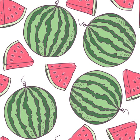 Juicy watermelon with slice seamless pattern in vector Çizim