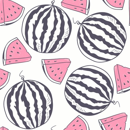 Watermelon with slice stylized seamless pattern in vector
