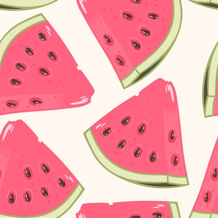 Slices of watermelon seamless pattern in vector