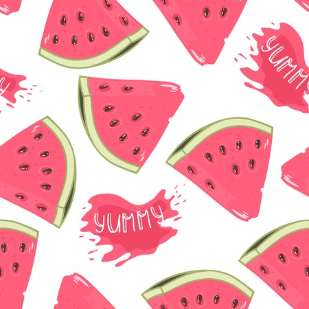 watermelon: Slices of watermelon seamless pattern with juice drop and yummy inscription in vector Illustration