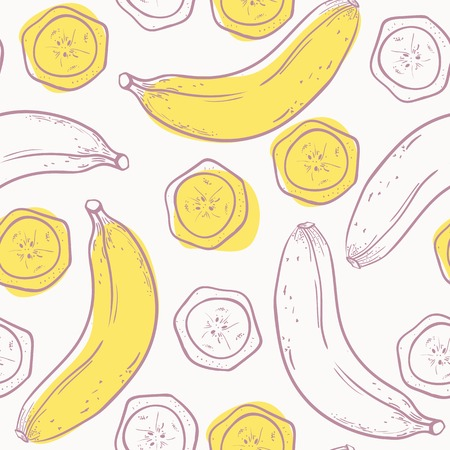 cartoon fruit: Outline stylized seamless pattern with banana in vector