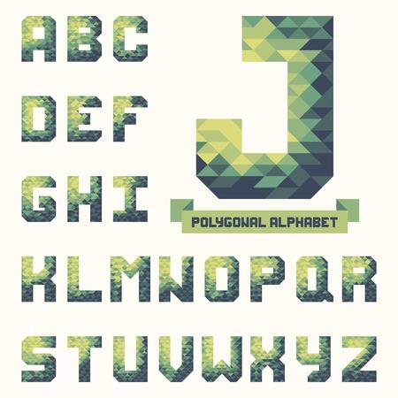 Full polygonal triangular alphabet. Trendy typeset for your design in vector Vector
