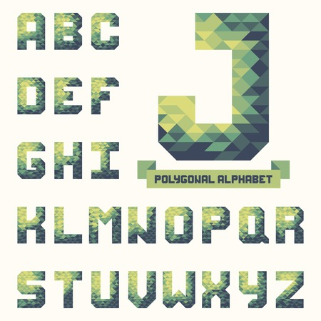 typeset: Full polygonal triangular alphabet. Trendy typeset for your design in vector