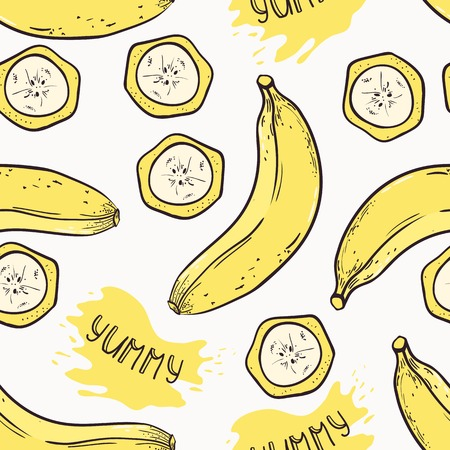 hand drawn cartoon: Banana with slices seamless pattern with juice drop and yummy inscription in vector