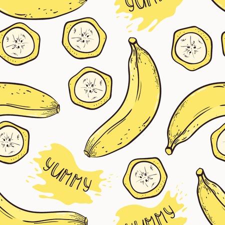 banana caricatura: Plátano con rodajas sin patrón, con jugo de gota y delicioso inscripción en el vector