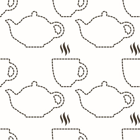 Contour of teapot and cup abstract seamless pattern in vector Vector