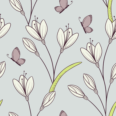 Stylized seamless pattern with flowers and butterfly.  Vector