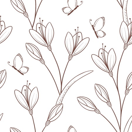Sketchy seamless pattern with flowers and butterfly.  Vector