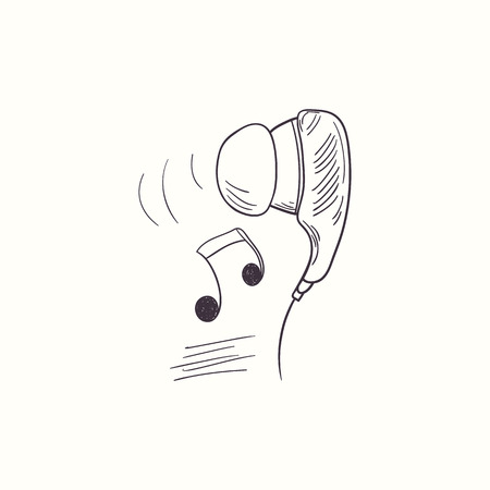 Sketched earphone with music desktop icon. Doodle design element Illustration
