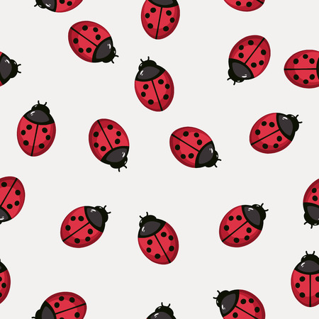 ladybug: Seamless pattern background with ladybugs. Stylized textile vector illustration