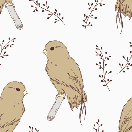 buzzard: Hand drawn bird seamless pattern. Abstract floral background (vector illustration)