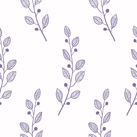 slhouette: Outline  seamless pattern background with branch. Doodle fabric design vector illustartion