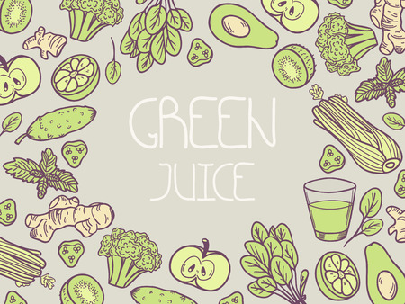 Green juice vector illustration. Background with vegetable frame. Doodle design with place for text