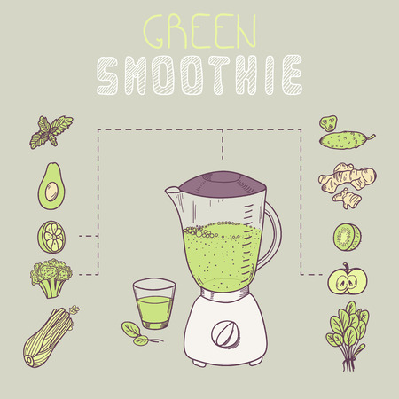 avocado: Green smoothie template receipt in vector. Illustration with doodle ingredients of vegetable juice with  smoothie inscription