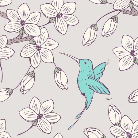 huella animal: Drwn Mano psttern fisuras con colibri de aves y flores en el vector. Doodle estilo de ilustraci�n floral con colibr� Vectores