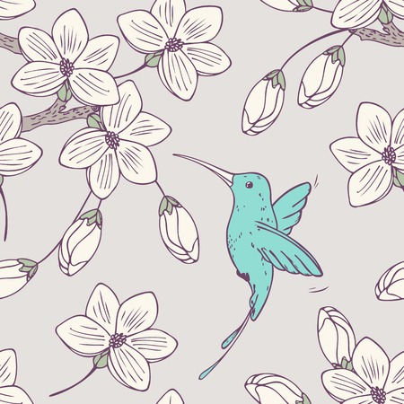 Hand drwn seamless psttern with colibri bird and flowers in vector. Doodle style floral illustration with hummingbird
