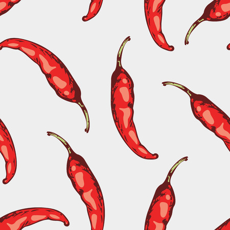 Seamless pattern with hand drawn spicy chili peppers in vector. Sketched background illustration