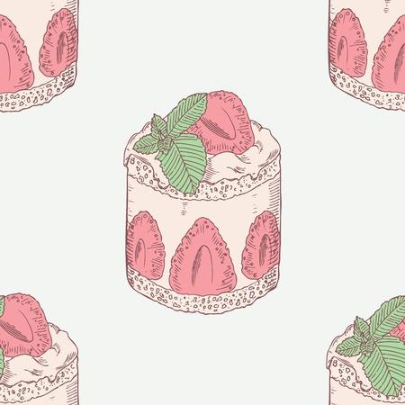 illustration of food: Pastel de crema de fresa con menta sin patr�n en el vector. Ilustraci�n postre dulce. Fondo de alimentos