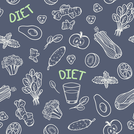 チョーク スタイル野菜シームレス パターン。ベクトルの図。健康食品黒板背景