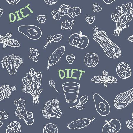 Chalk style vegetables seamless pattern. Vector illustration. Healthy food chalkboard background