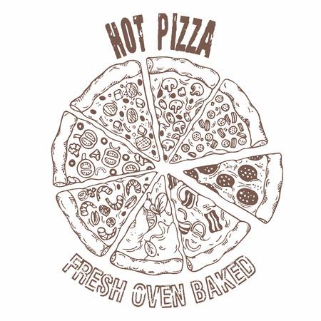pizza: Conjunto de diversas porciones de pizza en el vector. Elaboraci�n de alimentos Mano. Ilustraci�n del estilo del bosquejo