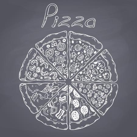 Ensemble de différentes tranches de pizza dans le vecteur. Alimentaire esquissé. Chalk illustration peinte. Fond Ardoise