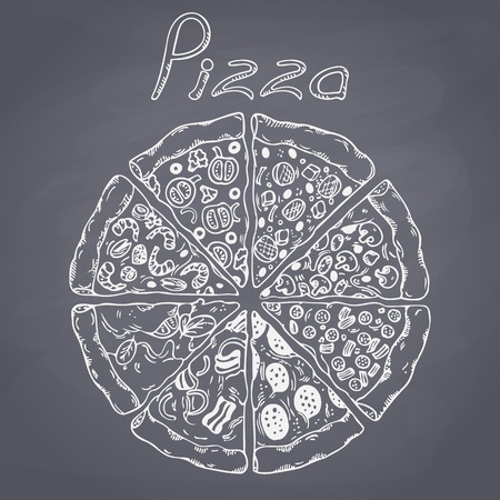 Set of different slices of pizza in vector. Sketched food. Chalk painted illustration. Chalkboard background