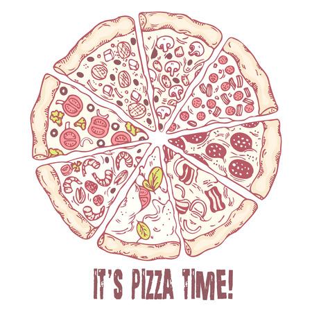 jamon y queso: Pizza con diferentes cortes. Dibujado a mano alimentos. Ilustración vectorial bosquejado