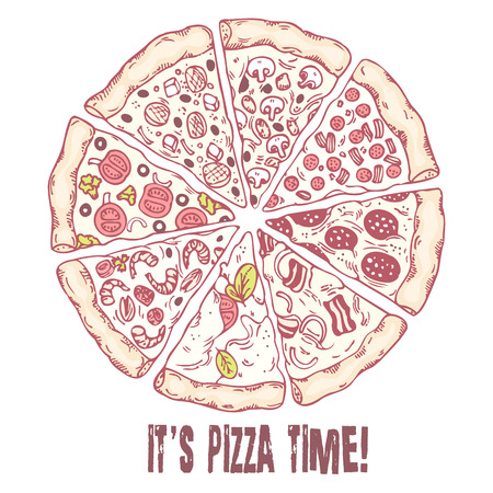 pizza crust: Pizza with different slices. Hand drawn food. Sketched vector illustration