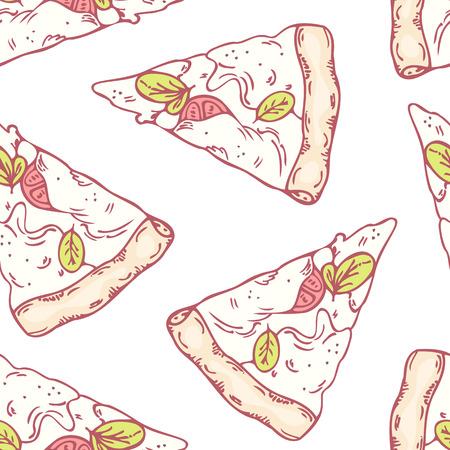 mozzarella: Slices of mozzarella seamless pattern. Pizza menu background. Vector illustration