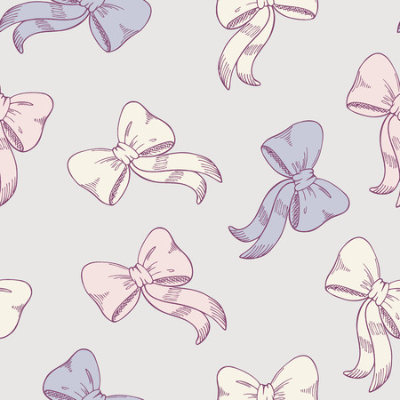 Seamless pattern with sketched bows in pastel colors. Cute childrens vector illustration Vector