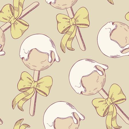 illustration of food: Cake pops con arco sin patr�n. Ilustraci�n postre del estilo del bosquejo. Fondo del alimento en el vector Vectores