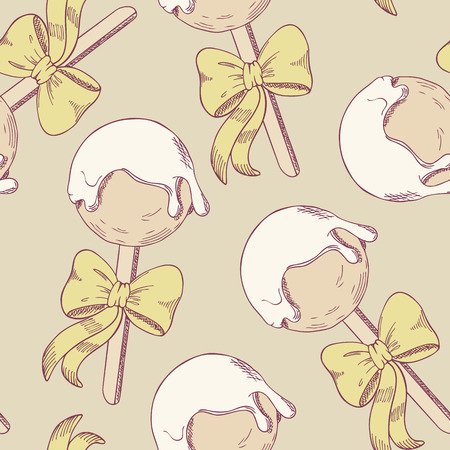 cake icing: Cake pops with bow seamless pattern. Sketch style dessert illustration. Food background in vector Illustration