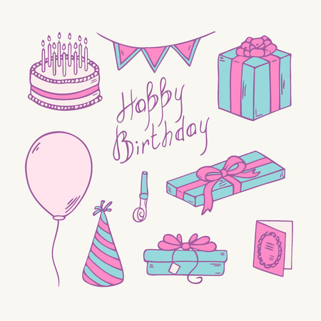 party hat: Doodle birthday party item collection. Cartoon vector illustration of gift, balloon and cake