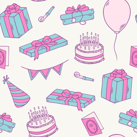 Hand drawn birthday party seamless pattern. Doodle vector illustration with gift, cake and balloon Vector