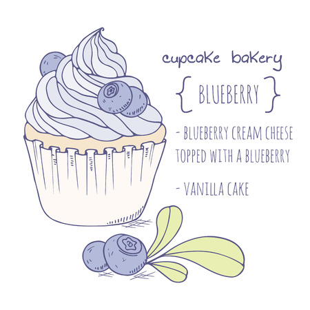 Hand drawn blueberry cupcake. Doodle illustration of dessert in vector Ilustração