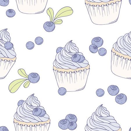 手描きブルーベリー ケーキ シームレス パターン。ベクトルの図。甘い食べ物の背景