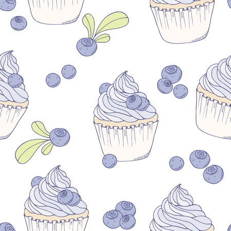 Hand drawn blueberry cupcake seamless pattern. Vector illustration. Sweet food background