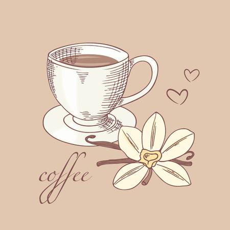 flor de vainilla: Taza de caf� bosquejado con la flor de la vainilla y el palillo en el vector. Ejemplo dibujado mano Vectores