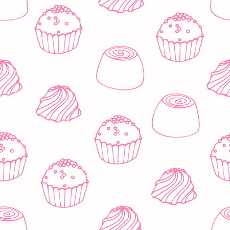 fudge: Seamless pattern with outline candies. Doodle sweets vector background. Food illustration Illustration