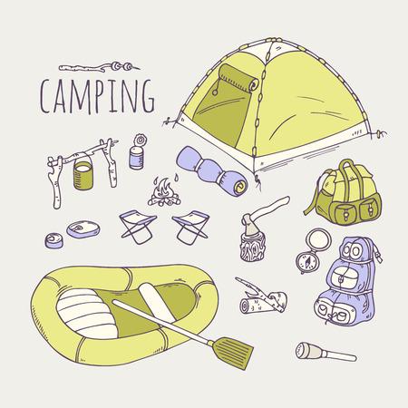 手は、ベクトルでキャンプの items コレクションを描画します。ハイキング機器落書きイラスト  イラスト・ベクター素材