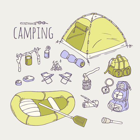 Hand drawn camping items collection in vector. Hiking equipment doodle illustration Çizim