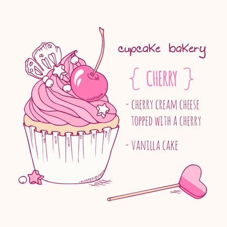 Hand drawn cherry cupcake. Doodle illustration of dessert in vector. Cake shop label