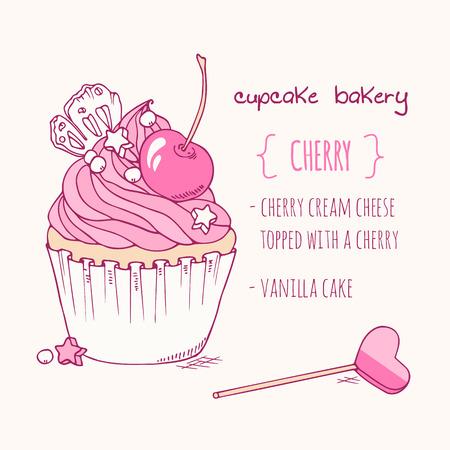 Hand drawn cherry cupcake. Doodle illustration of dessert in vector. Cake shop label