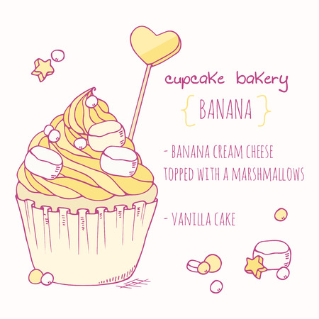 vanilla cake: Hand drawn banana cupcake. Doodle illustration of vanilla dessert in vector. Cake shop label
