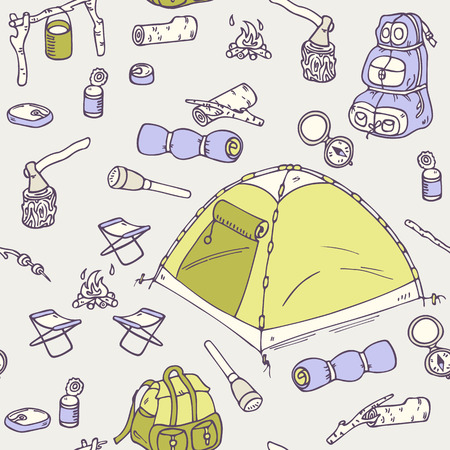 survival knife: Hand drawn camping  seamless pattern in vector. Hiking equipment doodle illustration Illustration